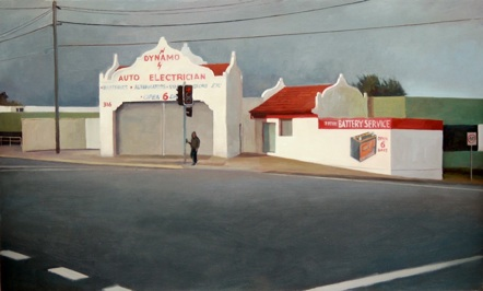 The Garage Oil on linen on board, 30.5 x 50.8 cm