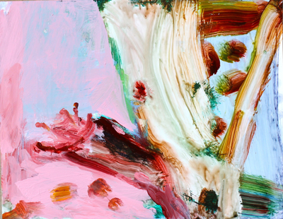 """""""Party piece"""" synthetic polymer on yupo paper, H28xW36cm, May 2014"""